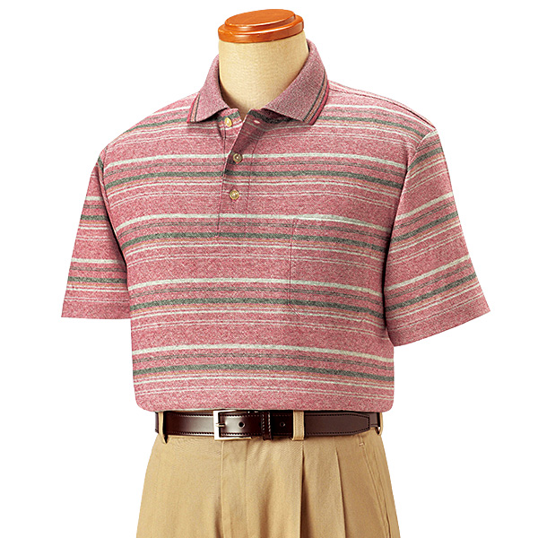 麻入りボーダー柄ポロシャツ