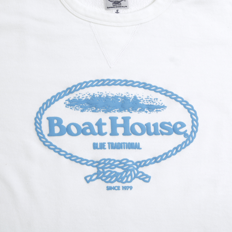 《ボートハウス》ガゼット付エルボーパッチトレーナー