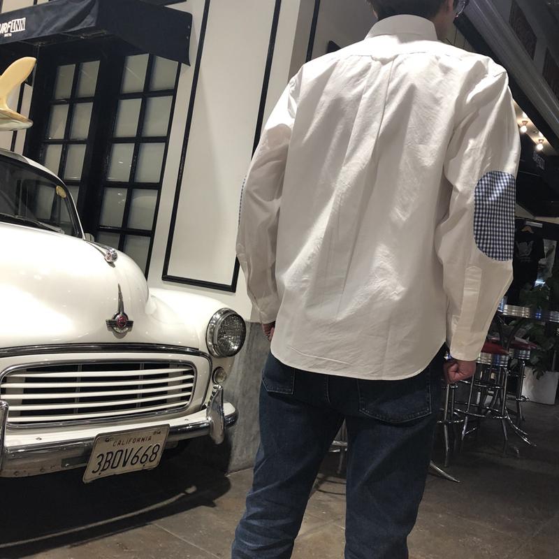 《ボートハウス》ギンガムエルボーパッチ L/SBDシャツ
