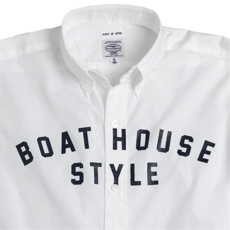 《ボートハウス》BHブロード胸アーチロゴプリントL/SBDシャツ