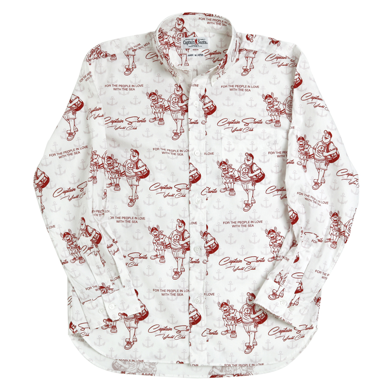 《キャプテンサンタ》CSヨットクラブ総柄L/SBDシャツ