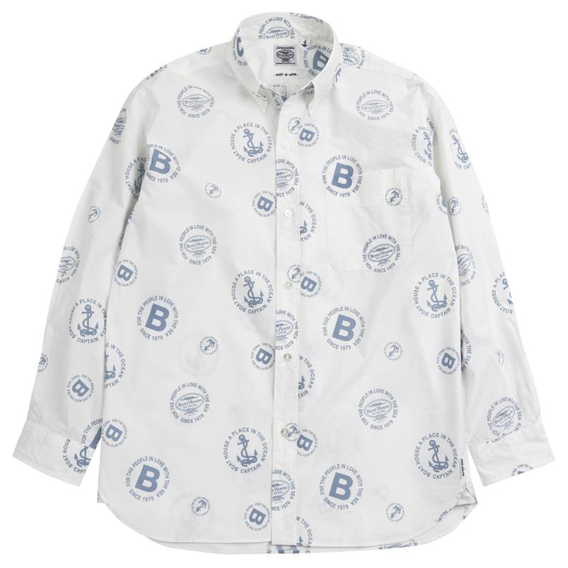《ボートハウス》BH 円文字トレードマーク総柄L/SBDシャツ