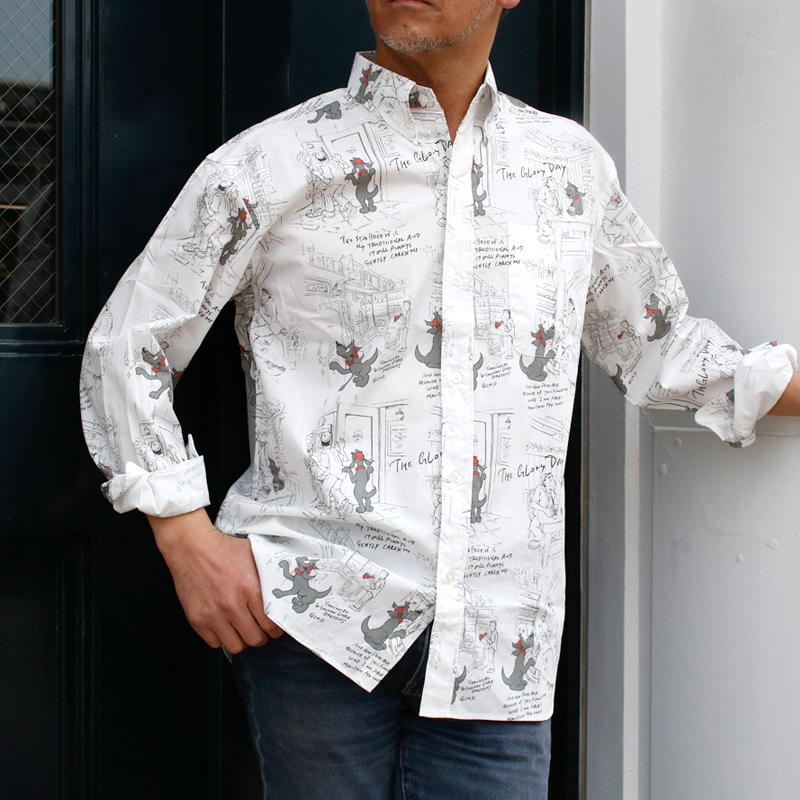 《ショーナンデューク・ボートハウス》BH SHONANBO & DUKEショップ総柄L/SBDシャツ