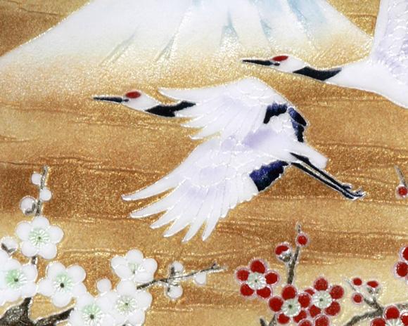 七宝焼 丸飾皿 祝い鶴 Φ27�_(無料名入れ対応品)