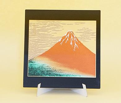 山中塗 マウスパッド 赤富士 黒