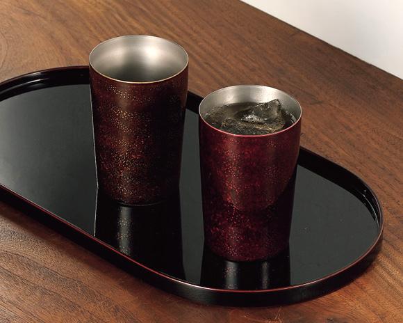 越前塗 コーヒー盆 溜塗