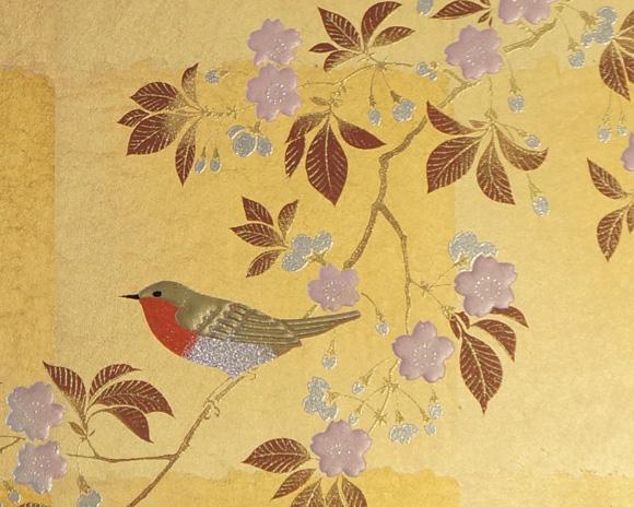 金沢箔工芸 屏風時計 花見鳥