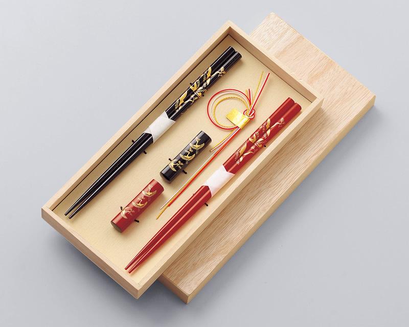 若狭箸 箸・箸置きセット 松喰鶴