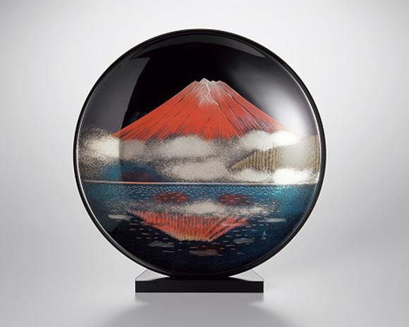 越前塗 飾皿 写し赤富士沈金 皿立付
