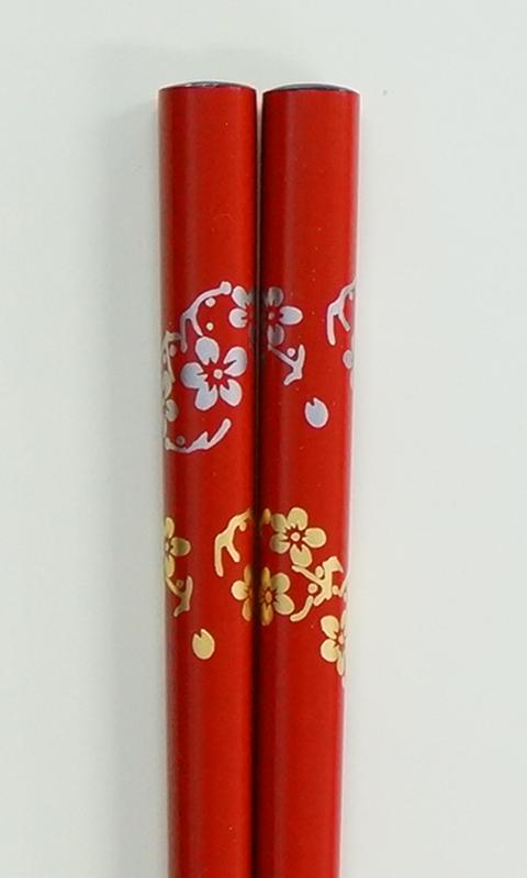 輪島うるし箸 花の丸 朱