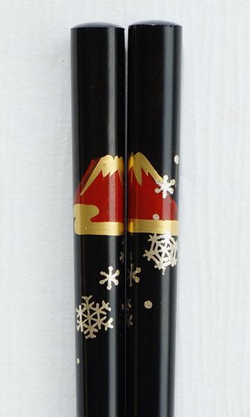 輪島うるし箸 富士雪 黒