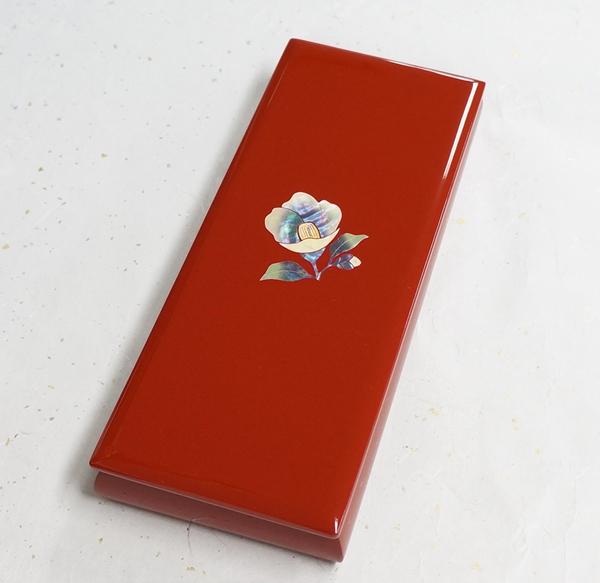 高岡 螺鈿細工 ペンボックス 白椿