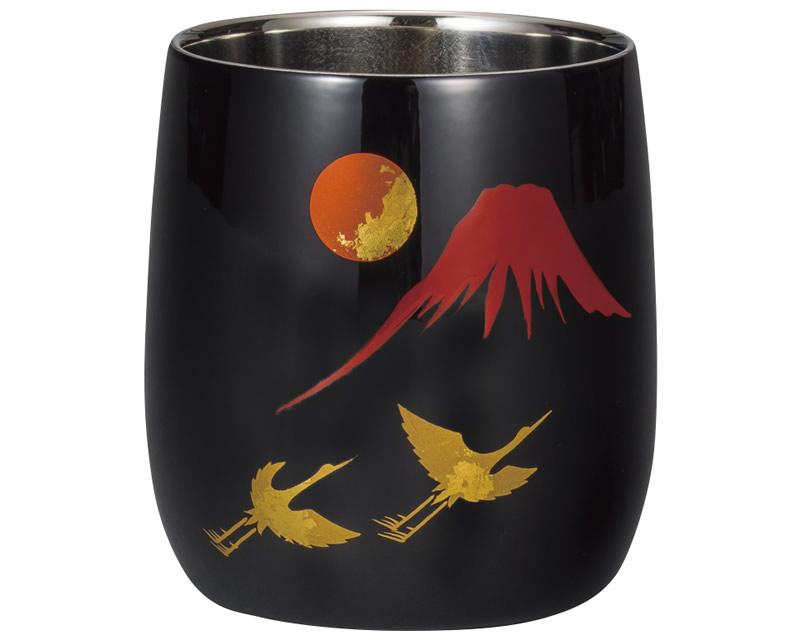 漆磨二重 ダルマカップ 手描き 富士に鶴