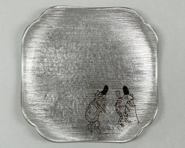 箔皿 鳥獣戯画 銀