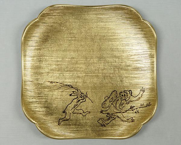 箔皿 鳥獣戯画 金