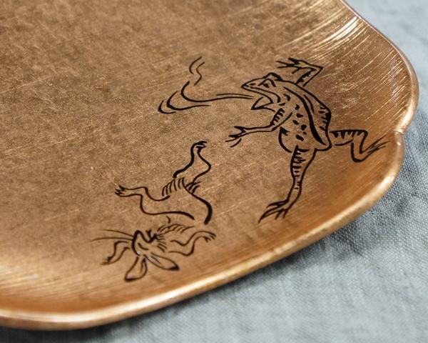 箔皿 鳥獣戯画 銅