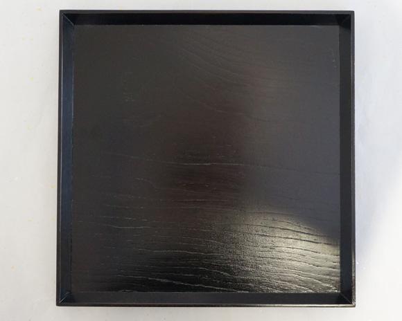 会津塗 角盆 黒拭き漆