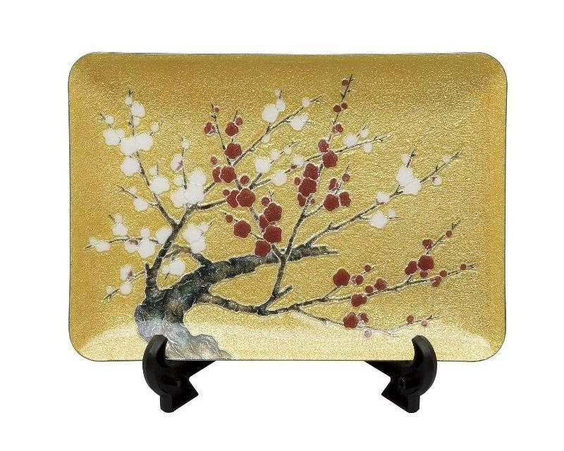 七宝焼 飾皿 紅白梅 15×21
