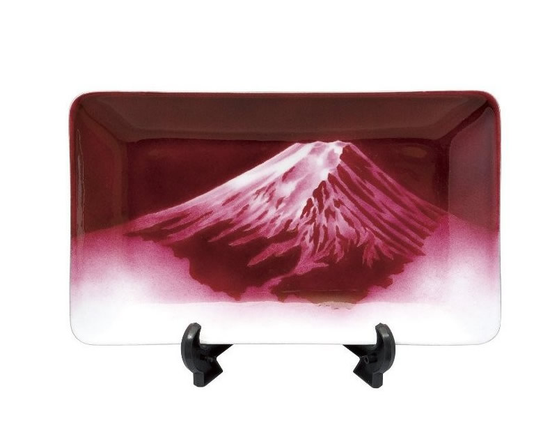 七宝焼 飾皿 赤富士 18×30