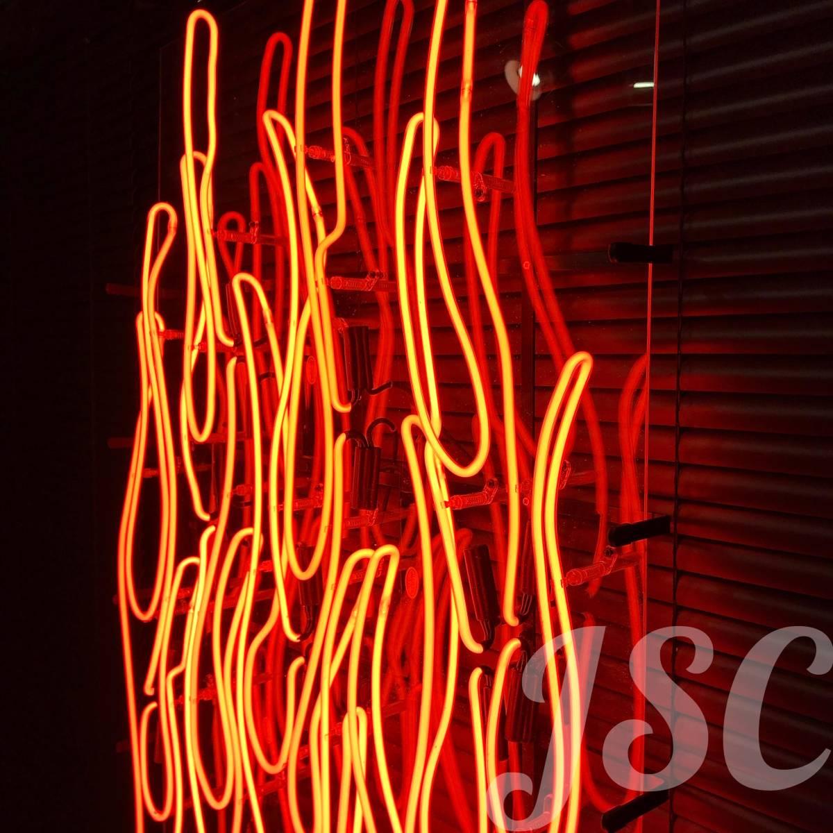 フレアパターン 特大 ネオン サイン 看板 ファイヤーパターン店舗ガレージ ハーレーショベル シボレーフォードダッヂタトゥーbarber JSC88