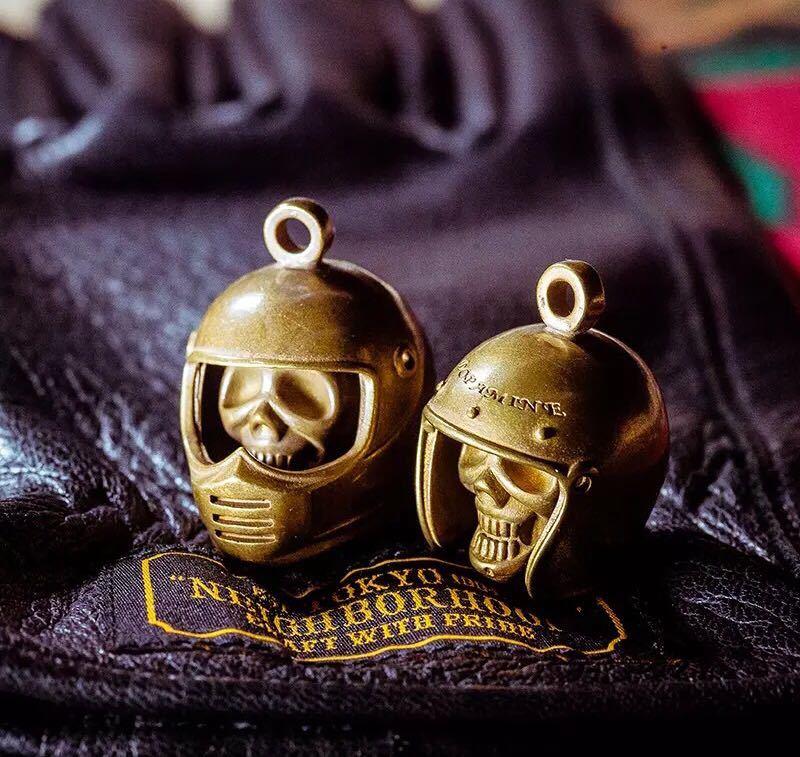 真鍮 ハンドメイド ベル x ヘルメット スカル アクセサリー ハーレー 鍵 ショベル チョッパー DIY ブラス ゴールド 革財布 ウォレット
