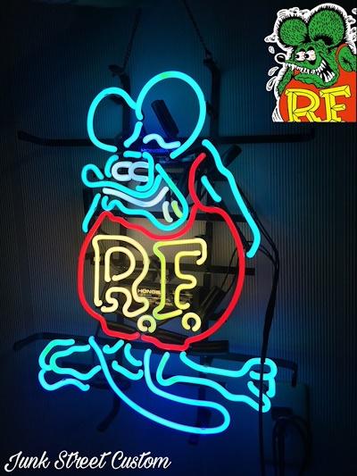 ラットフィンク 特大 ネオン 看板 ライト 【 ウォール クロック ガレージ DIY USDM 世田谷ベース アメリカ ハワイシボレー バナー 旗 フラッグ インパラ キャデラックローライダーカマ