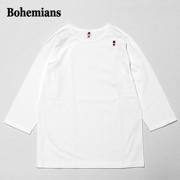 ボヘミアンズ/BOHEMIANS スパンリブクルーネックハーフスリーブTシャツ ストレッチ七分袖Tシャツ SPAN RIB CREW NECK H/S TEE BT-50 メンズ レディース【1点のみメール便可能】