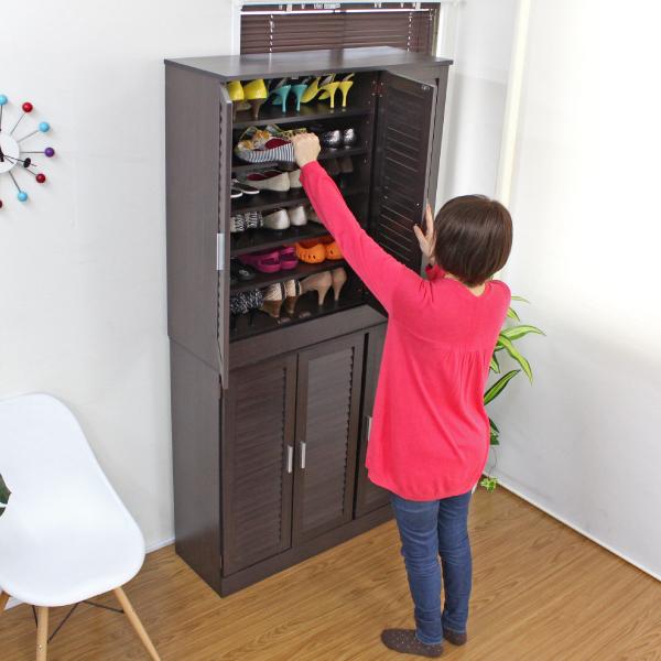 シューズボックス 玄関収納 下駄箱 ルーバー ルーバーシューズボックス シューズボックス 2個セット 90cm幅 TCP316D