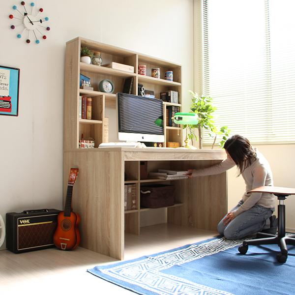 パソコンデスク ハイデスク 本棚付き デスク 115cm幅
