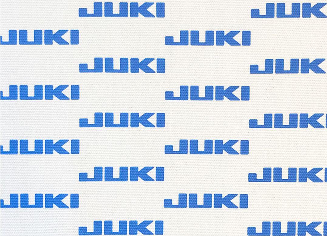 JUKIロゴ入り オリジナル生地(白地に青でJUKIロゴ)