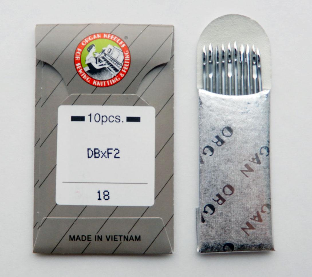 【オルガン針】(丸針)工業用ミシン針 職業用ミシン針 【DB×F2 #18】18番10本入り(皮革用)