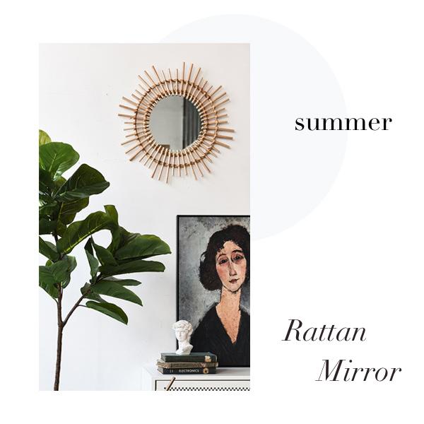 【送料無料】ラタン ミラー サンバースト ラウンド 壁掛け 鏡 / ナチュラル バンブー バンブーミラー