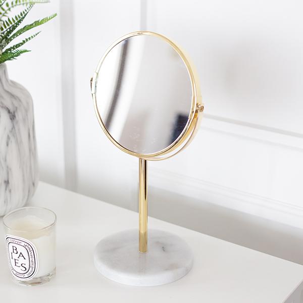 ゴールドフレーム マーブル メイクミラー 3倍拡大鏡 等倍 天然大理石 化粧鏡 北欧モダン