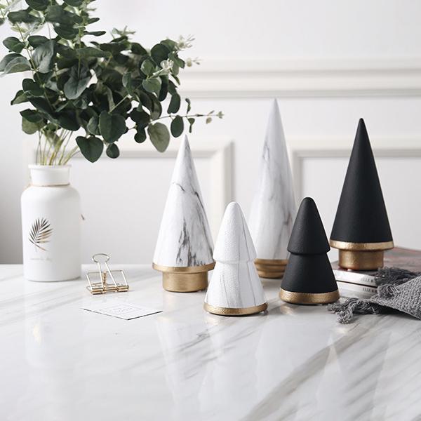 【送料無料】クリスマス ツリーオブジェ 大理石柄 マーブルホワイト ブラック 3個セット