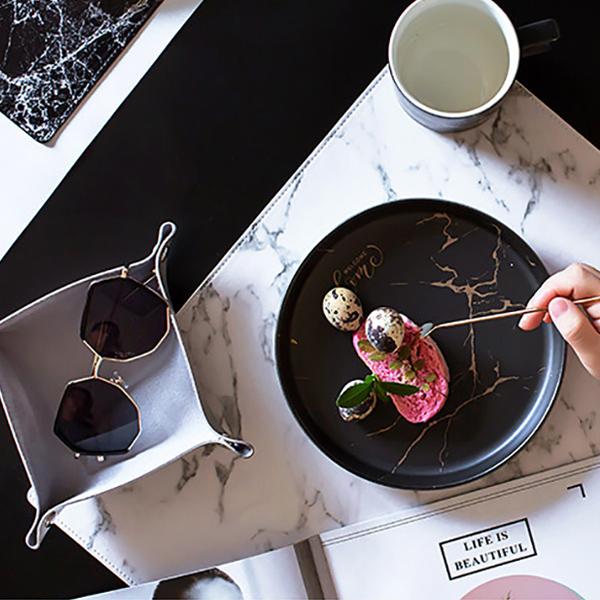 テーブルマット 大理石柄  プレイスマット 防水厚手 ランチョンマット PUレザー(送料無料)