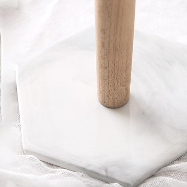ペーパーホルダー 大理石柄 キッチン収納 木の主柱 ウッドポール ヘキサゴン型 ベース