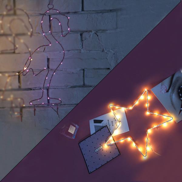 【メール便 送料無料】LEDデコレーション ウォールライト 壁掛け フック 壁飾り インテリアライト  オブジェ フラミンゴ スター