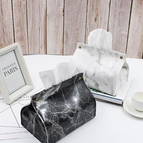 【メール便 送料無料】ティッシュケース 大理石柄 折りたたみ式 ティッシュボックス マーブル柄 アタッチメント PUレザー