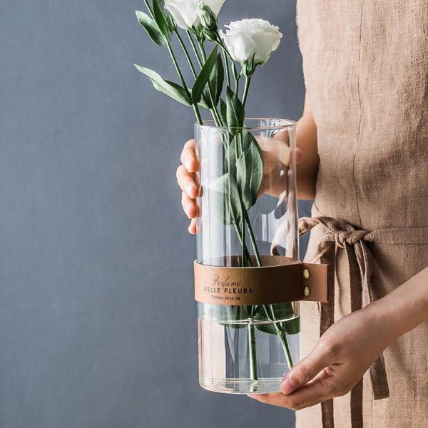 レザーベルト フラワーベース 革 革ベルト 花瓶 透明 ガラス ベージュ ブラウン Mサイズ