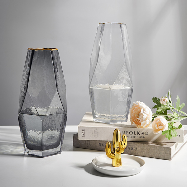 フラワーベース 花瓶  ソーダガラス 幾何学形 ラフ柄 Lサイズ