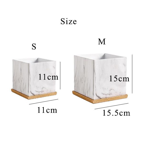【2個セット】マーブル(大理石模様)プランター スクエア 四角形 植木鉢〔中小2個+受け皿セット〕【送料無料】