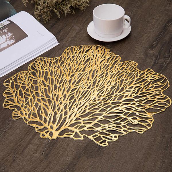 【送料無料】サンゴモチーフ テーブルマット プレースマット ランチョンマット ゴールド シルバー シャンパンゴールド