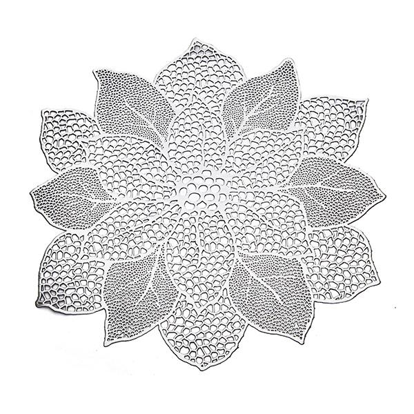 【送料無料】ロータス 蓮 モチーフ テーブルマット プレースマット ランチョンマット 花柄 シルバー シャンパンゴールド