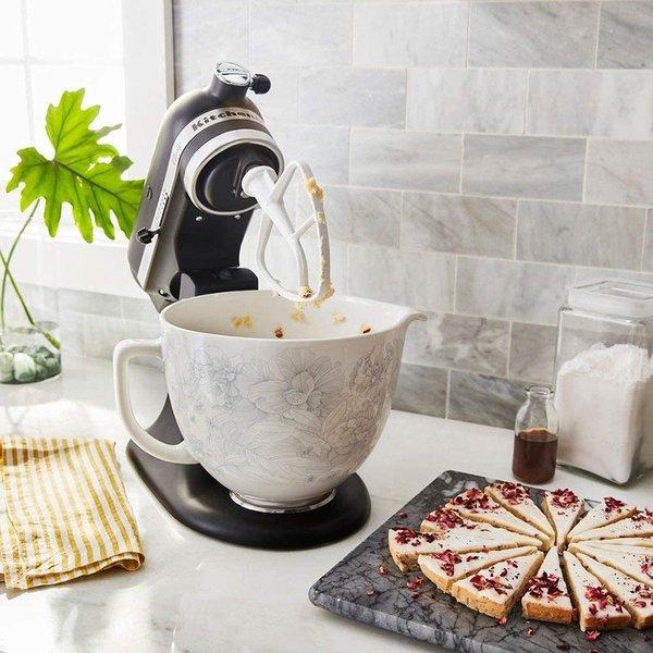 キッチンエイド ミキサー用 セラミックボウル 4.7リットル ホワイト 花柄 KitchenAid