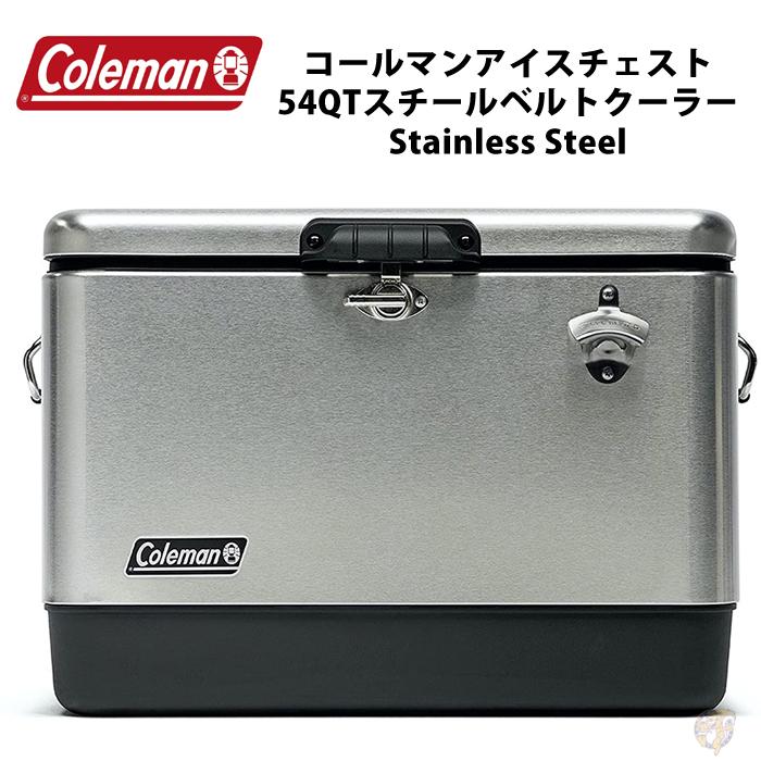 Coleman クーラーボックス 54QT Coleman スチールベルトクーラー  カラー: Stainless Steel  ステンレススチール