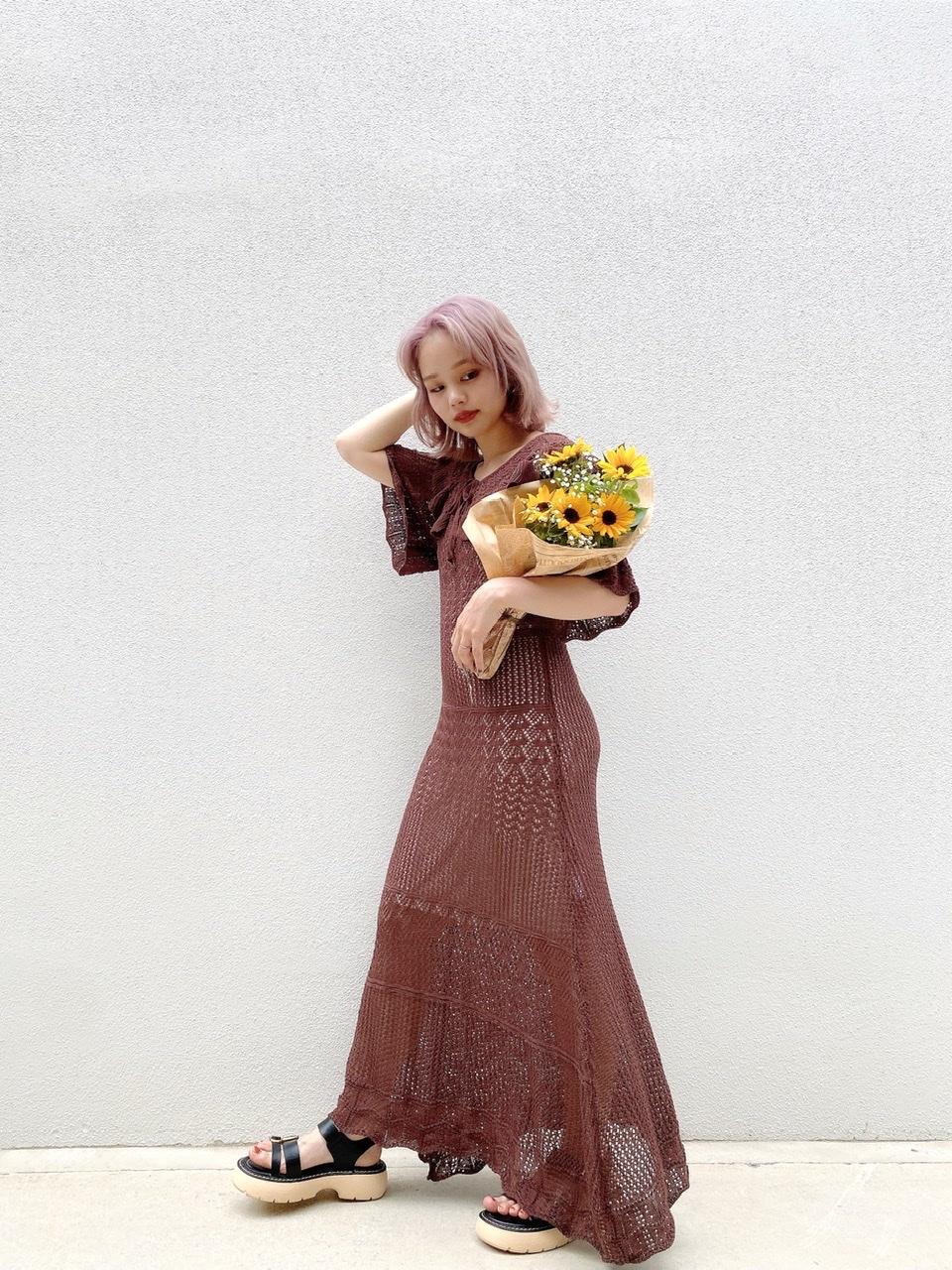 【SALE】カギ編みワンピース ブラウン