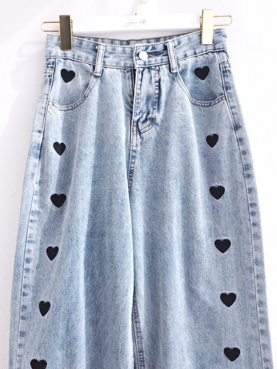 side heart denim pants