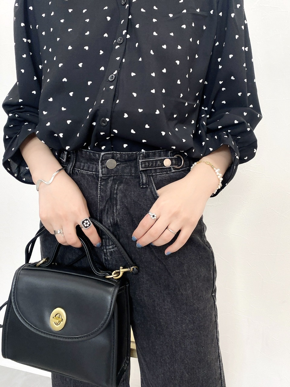 button denim pants black