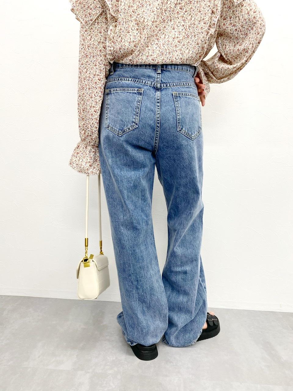 button denim pants blue