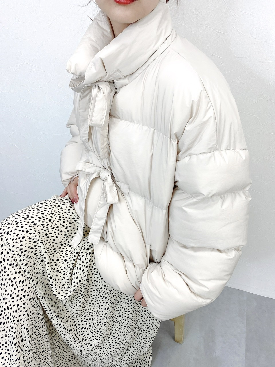 ribbon padding jacket ivory